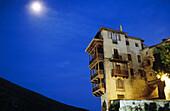 Architecture, Castile-La Mancha, Castilla-La Mancha, Cities, City, Color, Colour, Cuenca, Daytime, Europe, Exterior, Hanging houses, Horizontal, House, Houses, Illuminated, Illumination, Lights, Moon, Night, Nighttime, Outdoor, Outdoors, Outside, Spain,