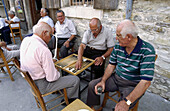 Men playing backgammon. Lefkara. Cyprus