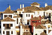 Partial view of Lomas del Rey residential area in Alcaidesa housing development, Costa del Sol. Cádiz province, Spain