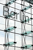 Glass facade of the central station, Berlin, Germany