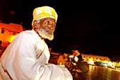 Elder musician in Jemaa El Fna city center, Marrakech, Morocco