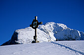 cross on summit of Kehlstein with Hoher Göll in background, Berchtesgaden range, Upper Bavaria, Bavaria, Germany