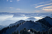 View from Hochries Mountain over Karkopf and Feichteck to Pendling and Zillertal Range, Chiemgau Range, Upper Bavaria, Bavaria, Germany