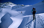 Backcountry skiers on tour at Hagen range, Berchtesgaden Alps, Upper Bavaria, Bavaria, Germany