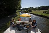 Houseboat Breakfast, Crown Blue Line Calypso Houseboat, Canal de la Marne au Rhin, near Heming, Alsace, France