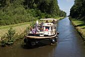 Houseboat on Canal de la Marne au Rhin, Near Niderviller, Alsace, France