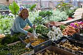 Friendly Market Woman at Strasbourg Market, Strasbourg, Alsace, France