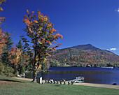 Fall foliage, Blue mountain Lake, Adirondack Park, New York, USA