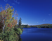 Scenic fall foliage, Lake abanake, Adirondack Park, New York, USA