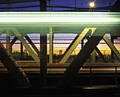 Subway line, Manhattan bridge, Downtown, Manhattan, New York, USA