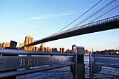 Brooklyn bridge, Fulton landing, Brooklyn, New York, USA