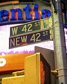 New 42nd Street sign, Midtown, Manhattan, New York, USA