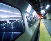 Metro north train platform, Grand central station, Manhattan, New York, USA