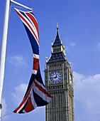 Union Jack (UK) flag, Big Ben, Parliament Square, London, England, UK