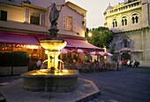 Cafes, Street scene, Place saint nicolas, Old town, Principality of monaco.
