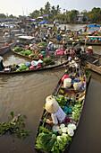 Cai Rang floating market. Mekong Delta, Cantho. Vietnam.