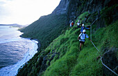 People hiking on Lower Road, an exposed section at the beginning of the climb to Mt. Gower, Lord Howe Island, Australia