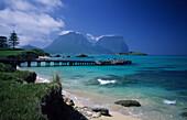 People standing on landing stage, Lord Howe Island, Australia
