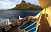 Cruise ship, MV Reef Escape Off Waya Island, Yasawa group, Fiji, South Sea