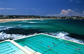 Bondi Iceberg Pool with Bondi Beach in background, Sydney, New South Wales, Australia