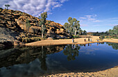 Tourists at Todd River near Old Telegraph Station in Alice Springs, Central Australia, Northern Territory, Australia