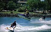 Jet Ski show at Sea World, one of the theme parks in the region, Gold Coast, Queensland, Australia