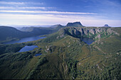 Aerial photo of Crater Lake, right, and Lake Dove, left, Cradle Mountain in the background, Cradle Mountain Lake St. Clair National Park, Tasmania, Australia
