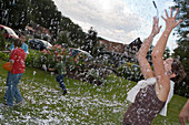 Confetti rain during wedding-eve party, Hauneck, Hesse, Germany