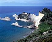 Sandstone rocks. Cap Dhrastis. Peroulades. Corfu. Greece