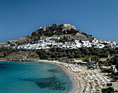 Greece, Rhodes, Dodecanese, Lindos, town view