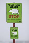 Polar Bear alert sign outside Churchill, Manitoba, Canada.
