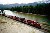Train. Rocky Mountains. Jasper National Park. Canada