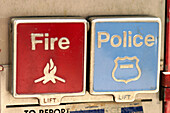 Alarm, Alarms, Blue, Button, Buttons, Close up, Close-up, Closeup, Color, Colour, Concept, Concepts, Detail, Details, Difference, Different, Fire, Horizontal, Lid, Lids, Pair, Police, Red, Safety, Security, Symbol, Symbols, Two, C71-259907, agefotostock