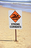 Strong current sign on beach