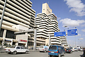 Housing bank complex, world trade center and flagpoles, Queen Noor Rd., Al-Abdali, Amman, Jordan