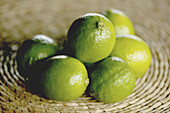 Aliment, Aliments, Citrus fruits, Close up, Close-up, Closeup, Color, Colour, Food, Fruit, Fruits, Green, Healthy, Healthy food, Heap, Heaps, Horizontal, Indoor, Indoors, Inside, Interior, Lime, Limes, Nourishment, Pile, Piles, Selective focus, Still life