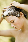 r, Contemporary, Daytime, Exterior, Female, Foam, Foamy, Froth, Generation X, Hair, Hands on head, Hu