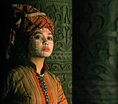 Yakan bride with traditional skin decoration and turban, Basilan Island, Philippines, Asia