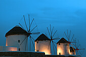 Aegean Sea, Color, Colour, Cyclades, Europe, Exterior, Greece, Illuminated, Illumination, Island, Islands, Lights, Mediterranean Sea, Mikonos, Molinos, Mykonos, Night, Nighttime, Outdoor, Outdoors, Outside, Town, Towns, Travel, Travels, World locations,
