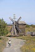 Village of Yamka, wind mill. Kizhi Island. Onega lake, Karelia. Russia.