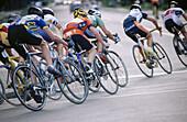 Bike racers taking a curve