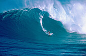 Surfing Jaws , a 30 wave on the north shore of Maui, Hawaii