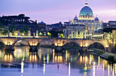 St. Peter s Basilica and St. Angelo Bridge. Vatican City. Rome. Italy