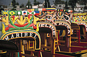 Trajineras (traditional ornated rafts). Xochimilco. Mexico