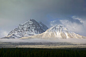 Early morning winter mountainscape from Bow Valley parkway. Lake Louise, Banff National Park. Alberta, Canada