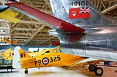 North American AT-6 Harvard WW2 trainer and Sabre Jet (1950 s). Alberta Aviation Museum. Edmonton. Alberta, Canada