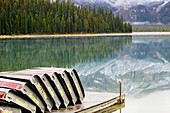 Yoho National Park in autumn, Emerald Lake & reflections. British Columbia, Canada