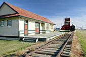 Western Development Museum and Village, train station and grain elevator. North Battlerford. Saskatchewan, Canada