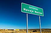 Entering the Navajo Nation sign, I-40 Indian Reservation entrance. Sanders. Arizona, USA