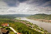 Visegrad Citadel (b.1259) - View of Danube River, Visegrad & Nagymaros. Visegrad. Danube bend. Hungary. 2004.